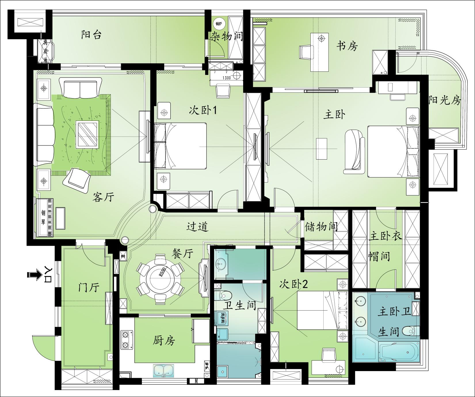 别墅 新古典 东易日盛 王斌 户型图图片来自武汉东易日盛在城投翰城--新古典--王斌的分享