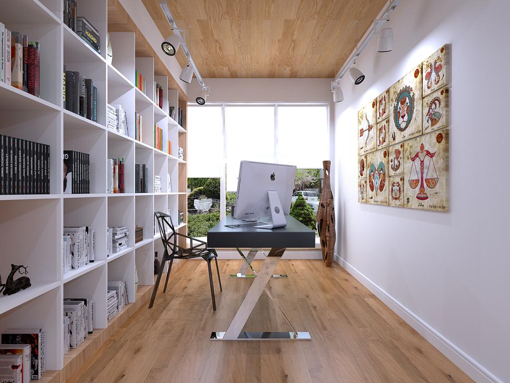 北欧 四居 白领 书房图片来自业之峰在线服务的猫在西安业之峰装饰——香榭兰廷北欧的分享