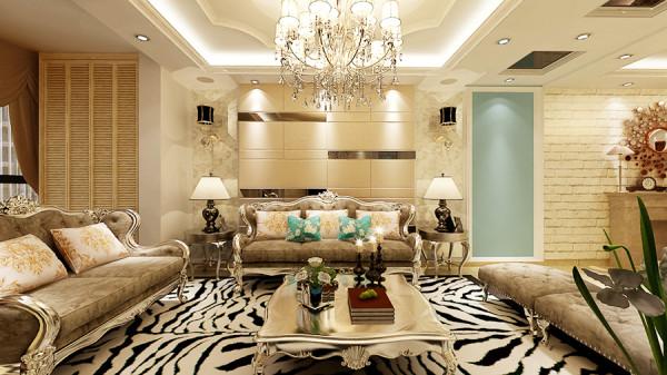 客厅的设计通过对欧式风格元素的高度提炼,为居住者营造一个令人耳目一新的、极具视觉冲击力的欧式奢华大宅。客厅设计采用明亮的色调,在满足现代人的生活起居习惯的同时尽显欧式奢华品味。