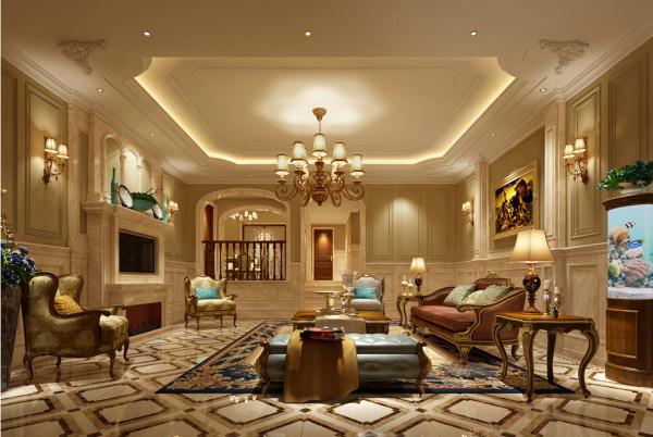 客厅地面和墙面下半部分运用大量的石材造型来体现房子的豪华大气,墙面上半部分运用了线条及优质涂料和石材造型完美的融合使整个空间散发出即豪华又优雅的气息。