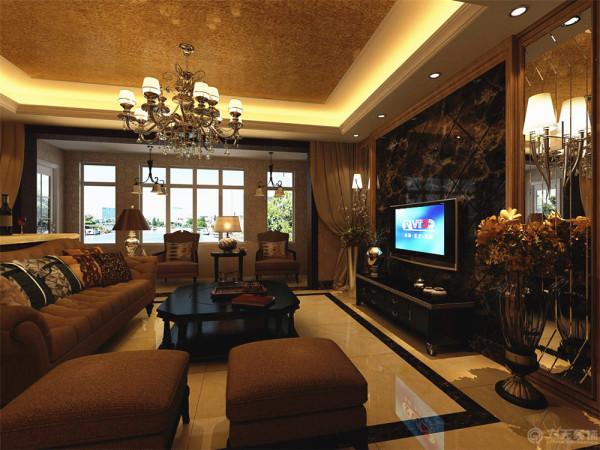 本户型设计成豪华的欧式风格。这样的风格在这么大的房子中非常显示出豪华的特点。首先在整体的空间上采用中央空调,白色的石膏板的吊顶以及配合上欧式的脚线进行搭配。