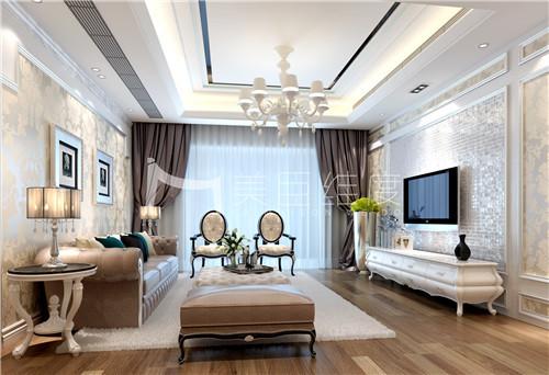 主要通过墙纸、窗帘、灯具、斗柜、装饰品及家具等来营造一种轻奢氛围。