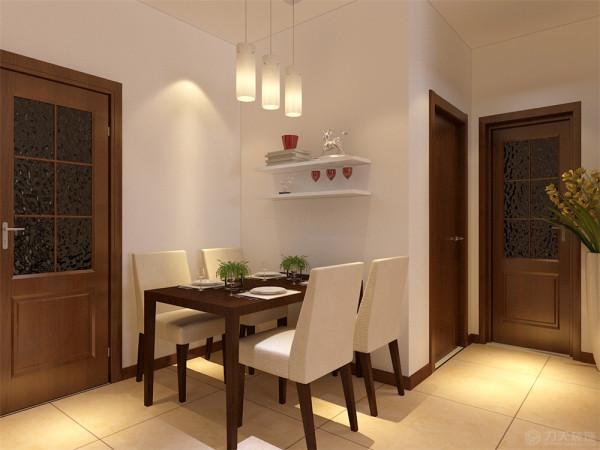餐厅采用深色四人餐桌,墙上放展示架,既可以放日常用品又可以起到装饰作用。