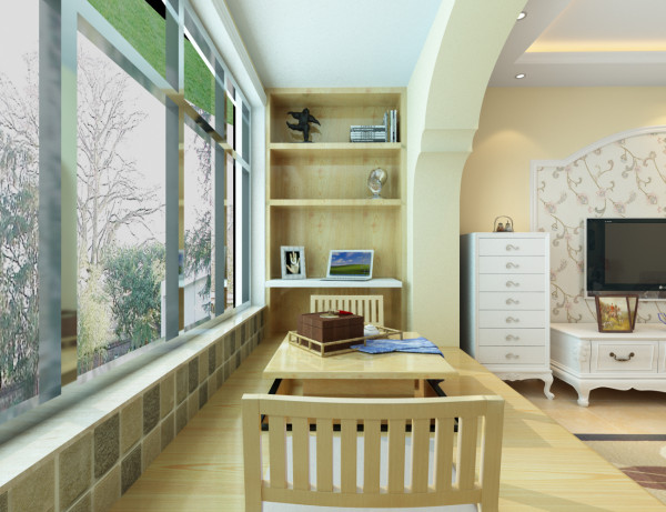 阳台:客厅阳台考虑的储物和休闲的功能,此位置定制了榻榻米,同时也兼有书房的功能。