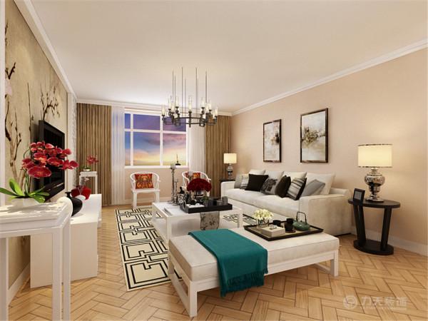 客厅墙面整体采用奶咖色,电视背景墙面采用中式山水画装饰,给人的感觉很雅致,给人以放松的心情,客厅家具采用现代的白色沙发。