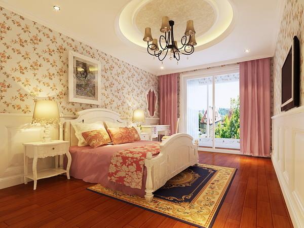 主卧室:此房间为业主二人的居住空间,所以整体的装饰和色调温馨明朗。
