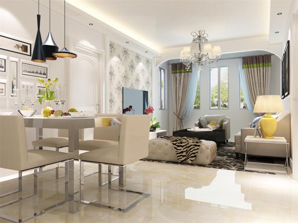 深色色调窗帘与空间的咖色相呼应,简洁的吊顶以及大气的吊灯,做一个充足的对比。电视,沙发背景墙简洁大方,灯光柔和,让业主可以释放工作中的压力,得到纯粹的放松。简洁的挂画让人感觉更时尚、雅致。