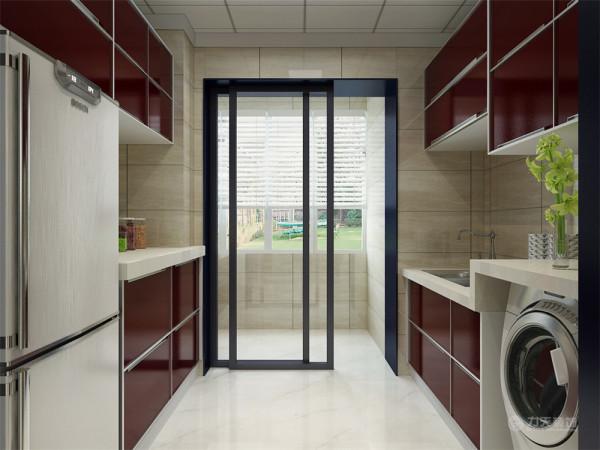 地面选择的是莎安娜米黄地砖,搭配黑白色的地毯和白色的电视柜。