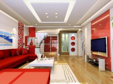 浦东200平米复式简约中国红