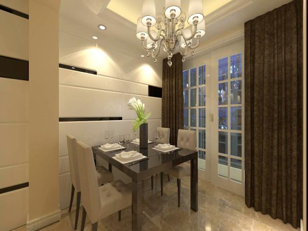 餐桌背景这块 做的是简易的石膏板 做了一些叠层 和不规则凹槽黑边。