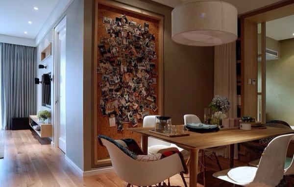 同样采用北欧简约的色调 墙面的照片让家人在用餐的同时感觉到家的温馨