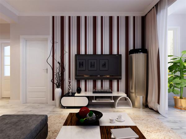 客厅电视背景墙采用了视觉冲击力比较强烈的竖条纹壁纸,沙发背景墙则是搭配简单的现代黑白挂画,深灰色的L型沙发,搭配黑白,灰色以及红色抱枕,与整个空间融为一体;