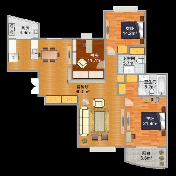 使用面积124平米的三房两厅两卫南北通户型,加主卧阳台6.6平米
