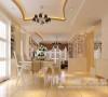 锦棠160平三室两厅现代简约装修案例效果图——餐厅,整体感觉比较简单大方,墙面的米色乳胶漆和照片墙搭配,显得比较简洁干练。