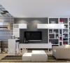 正商新蓝钻复式80平现代简约装修案例效果图——客厅,电视墙采用书柜的设计,使得客厅有了更多的收纳空间,底色用深灰色的乳胶漆使整个空间更加简约时尚