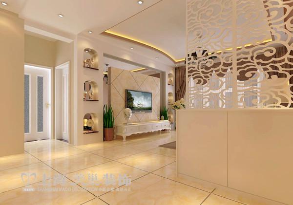 锦棠三室两厅现代简约装修160平案例效果图——入户门,简洁大方,镂空花格做入户玄关,及显得空间通透,又有屏风玄关的作用