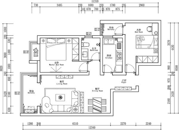 上东城90平两室两厅现代简约风格装修户型图