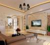 锦棠160平三室两厅现代简约装修案例效果图——客厅全景,电视墙采用白色石膏板造型和米色地砖上墙,用银色镜子点缀,显得更加沉稳大方。