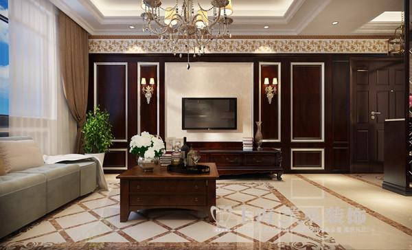 郑州东方国际广场89平两室两厅新古典装修效果图--电视背景墙