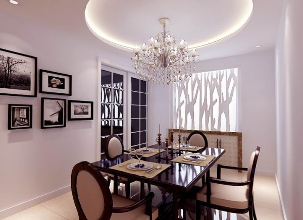 设计理念:餐厅是家居生活的心脏,不仅要美观,更重要的实用性,整体性。顶面以圆弧形式的吊顶,寓意家庭团圆和睦。拆除原有的窗子,用雕花隔断与清玻璃相结合来代替,美化了整体餐厅乏味的感觉。