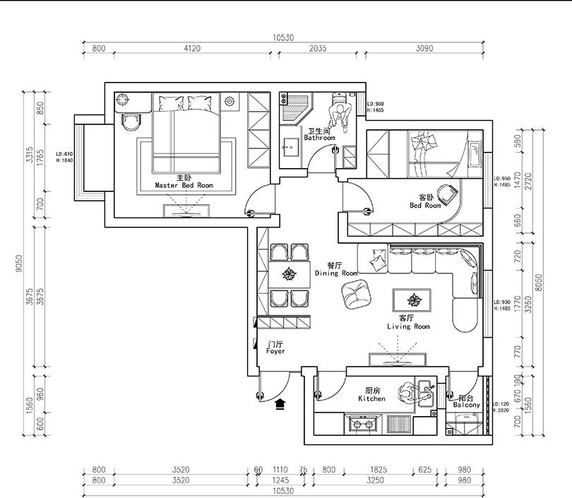 二居 欧式 白领 80后 小资 户型图图片来自美巢装饰--李凌晨在东方国际广场两室两厅装修效果图的分享