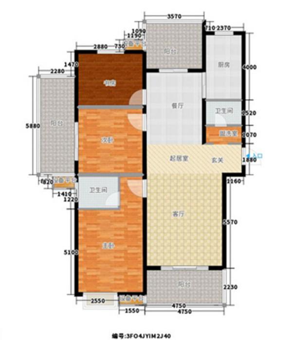 锦棠160平三室两厅现代简约装修案例户型方案平面图