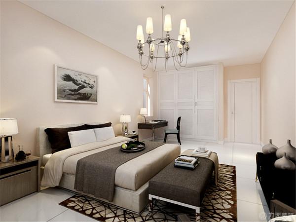 主卧墙面采用暖色的竖纹壁纸,床头背景放上自己喜爱的挂画,也设有单独的书桌,以简洁的形式,最大程度的利用空间。