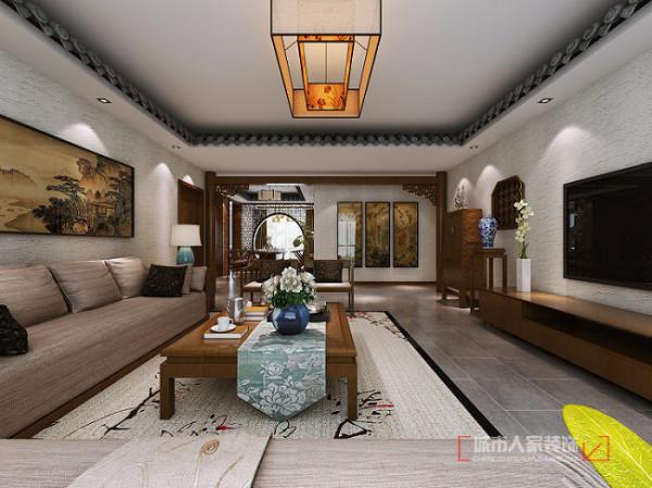 客厅跟过道处,为整个居室的中心位置,此处选用两根原木柱体,达到功能分区及赋有顶梁柱的寓意,表达了业主对自己孩子将来的一个期盼。