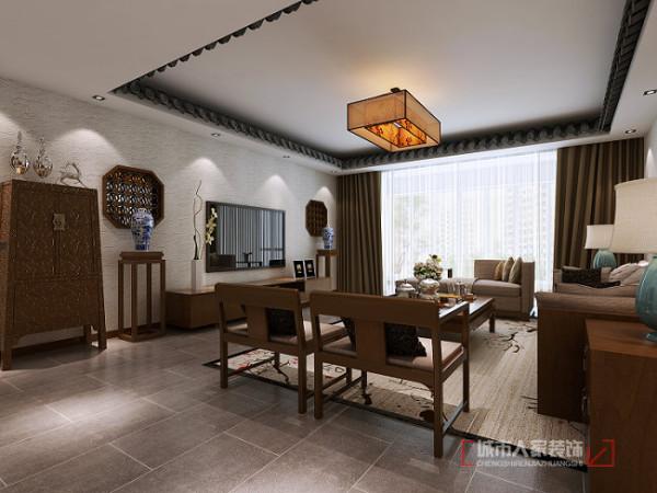 客厅吊顶部分采用滴水瓦来营造室外园林风.与柱体达到相互呼应,体现出中国古建筑的卯榫结合设计氛围!