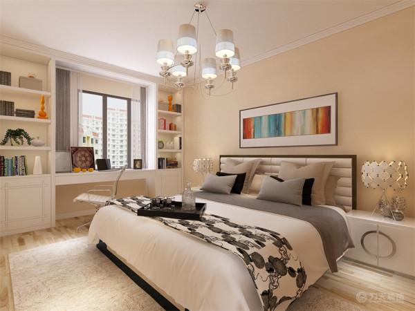 主卧室选择白色通体书柜写字台,节省了空间的使用,其他三个卧室同样偏白色的家具和暖色的乳胶漆,时尚又不失温馨。