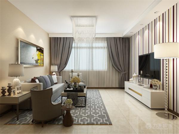 深色色调窗帘与空间的咖色相呼应,电视背景墙贴壁纸,简洁大方并且非常明亮活泼,让业主可以释放工作中的压力,得到纯粹的放松。