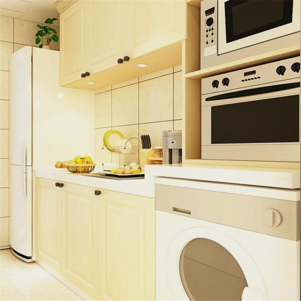 卫生间和厨房的装饰也很简单整体以白色米色瓷砖进行装饰营造出了干净明亮的氛围。总的设计上来看达到了以最少的装饰营造出业主想要的装饰效果。