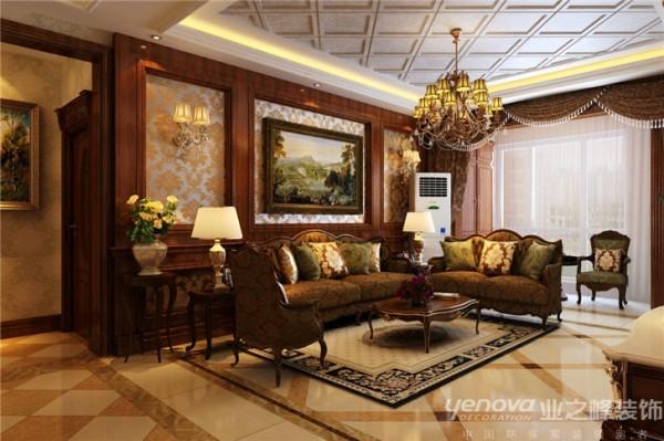 在沙发背景墙的设计上运用左右对称的手法,配上厚重中又不失细腻的线条及护墙板木制材质,加上壁纸的元素,展示出了主人高品质的生活品味和舒适大气的居住环境。