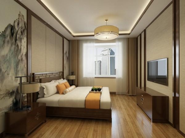所有的家具都用简化线条美感的的中式家具,整体感觉让人觉得很舒服。让整体有和谐感。主卧降低了色调,休息区域必须温和,不宜跳跃。