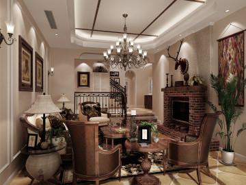 富力湾别墅装修美式风格设计