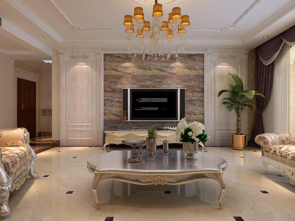 盛邦大都会218㎡四室两厅简欧装修效果图——客厅装修效果图