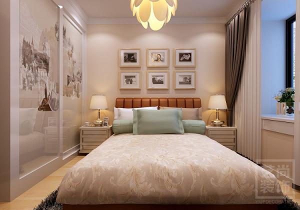 锦艺国际华都B2户型三室两厅样板间装修案例,卧室整体装修效果图。