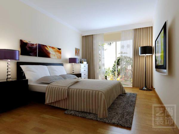 锦艺国际华都87平方三室装修方案,主卧室装修好效果图。