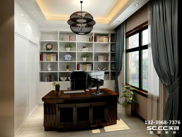 设计 理念书房白色的书柜,配上绿色植物的点缀,使空间更自然,舒适 主材 说明黑白对比的书桌书柜