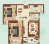 祝福红城77.49平方两室两厅装修效果图