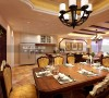 餐厅美式桌椅、吊顶灯