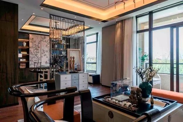 三居 新中式 客厅 餐厅 书房 厨房 卧室 卫生间 收纳 书房图片来自实创装饰晶晶在126平老房翻新新中式三口之家的分享