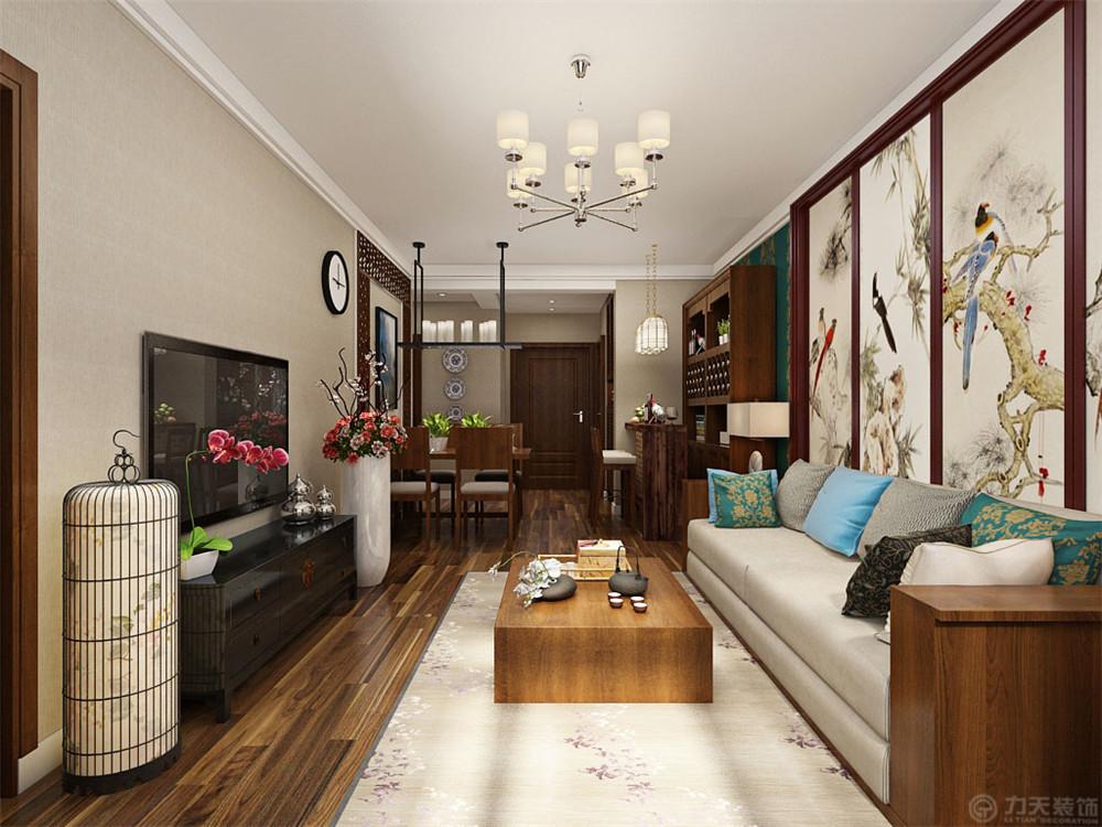 三居 80后 小资 中式 客厅图片来自阳光放扉er在力天装饰-洞庭壹号110㎡的分享