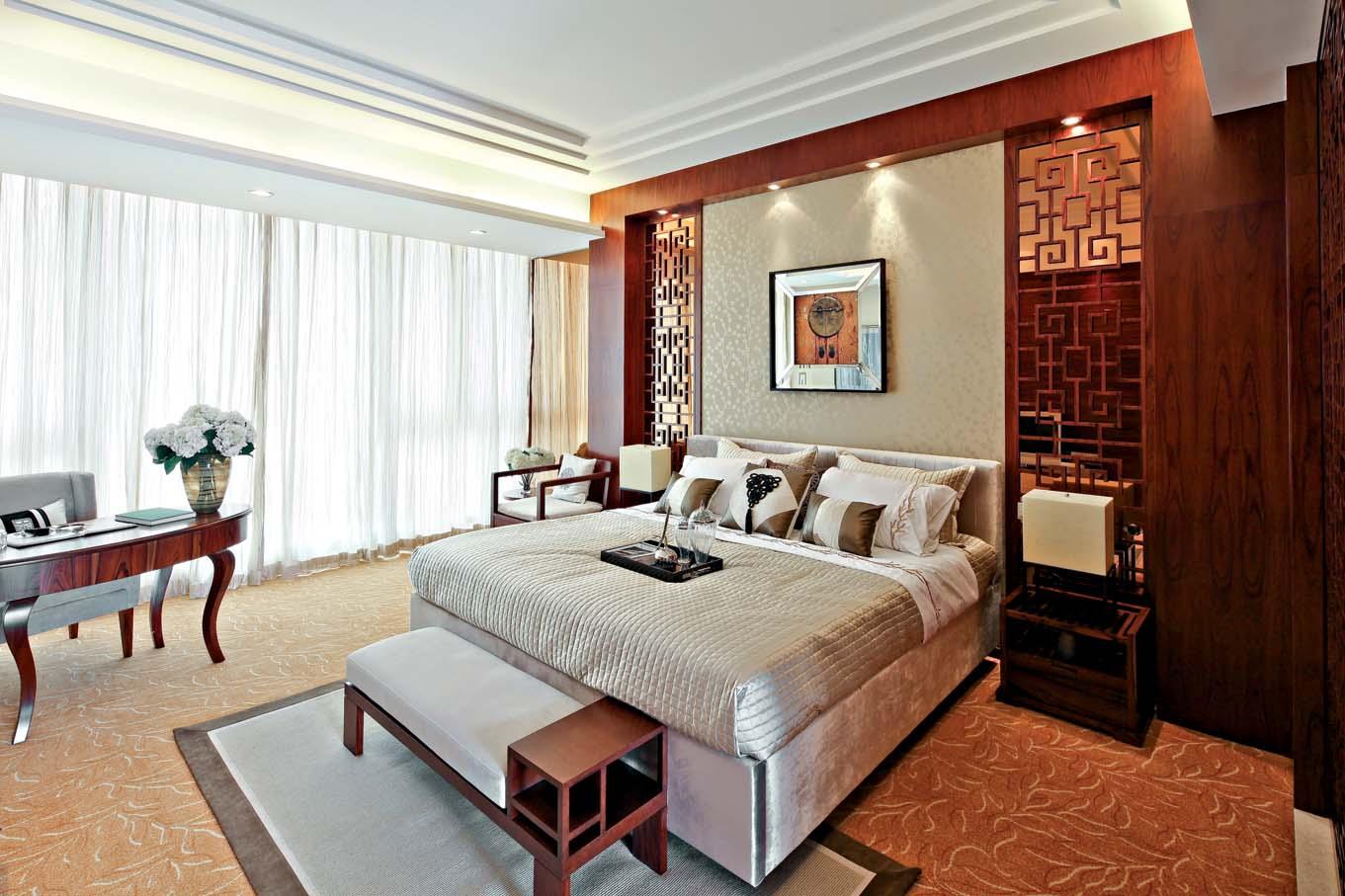 新中式 中式风格 室内设计 装修风格 装修设计 卧室图片来自别墅装修设计yan在新中式风格首创国际半岛的分享