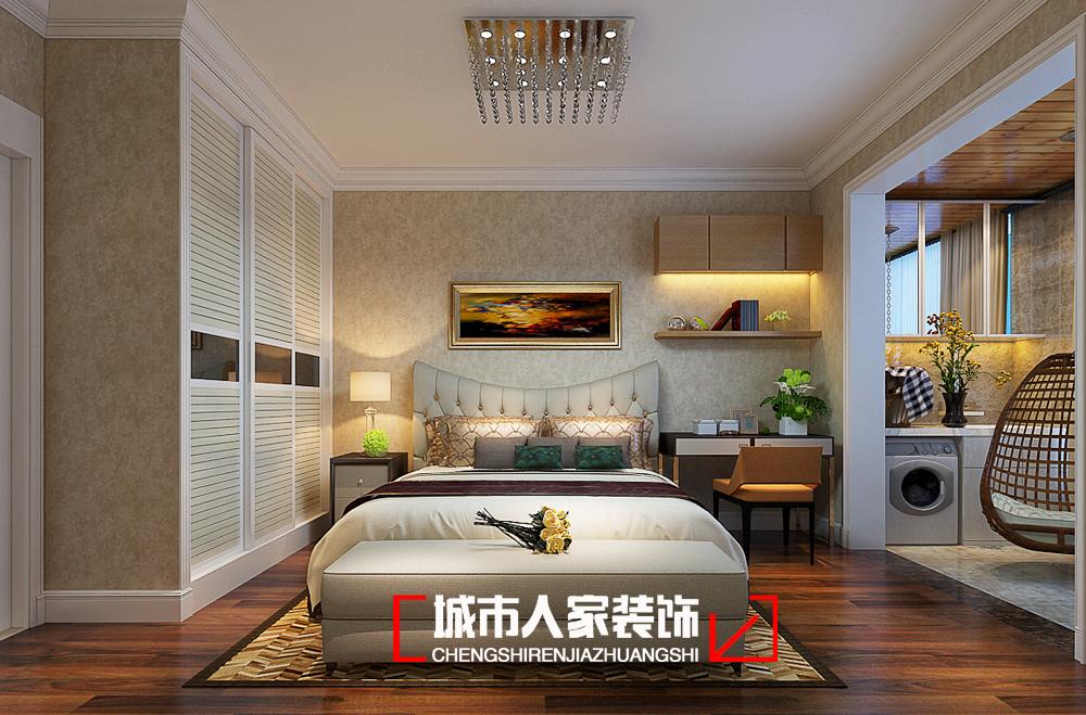 简约 中正乐居 二居 家装公司 装修设计 太原装修 卧室图片来自太原城市人家装饰在中正乐居95平米装修设计案例的分享