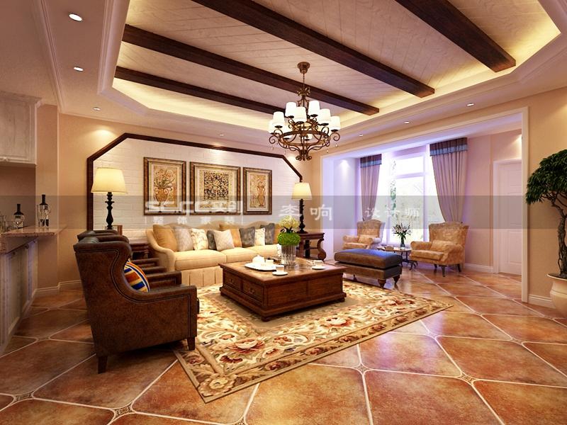 别墅 美式 奢华 实创 装修 客厅图片来自快乐彩在美式装修龙湖上叠别墅实创装饰的分享
