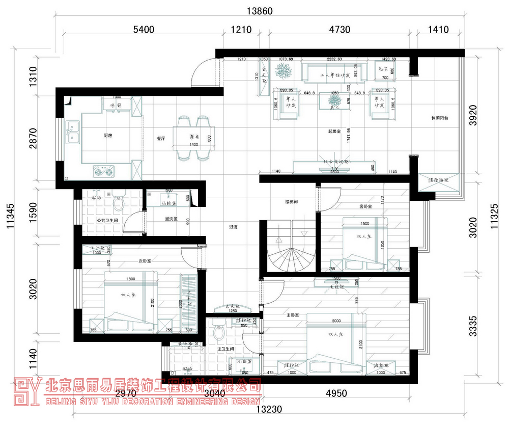 北京别墅 北京二手房 北京旧房 逅屋设计 扬州逅屋 户型图图片来自思雨易居设计在《闲逸》扬州200平现代中式风的分享
