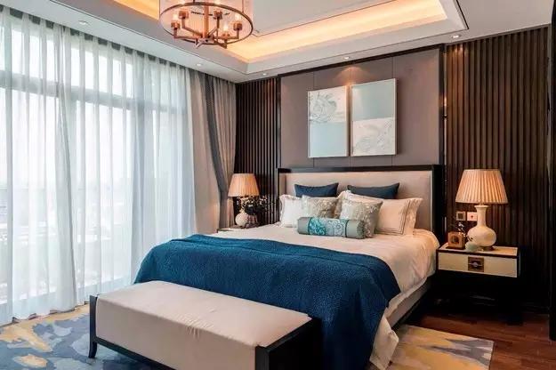 三居 新中式 客厅 餐厅 书房 厨房 卧室 卫生间 收纳 卧室图片来自实创装饰晶晶在126平老房翻新新中式三口之家的分享