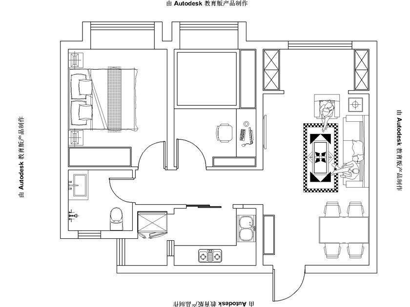 简约 欧式 二居 白领 收纳 80后 小资 户型图图片来自实创装饰百灵在小空间美式特权88平米的分享