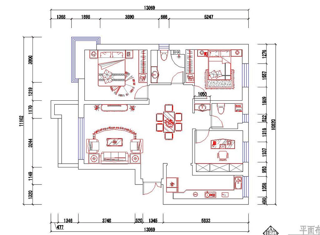 简约 现代 大自然 二居 小资 户型图图片来自业之峰装饰旗舰店在碧桂园131平现代简约风格赏析的分享